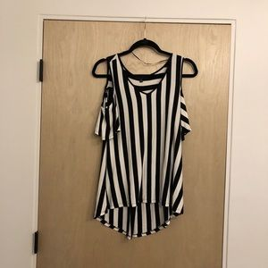 Black and White striped tee with open shoulders